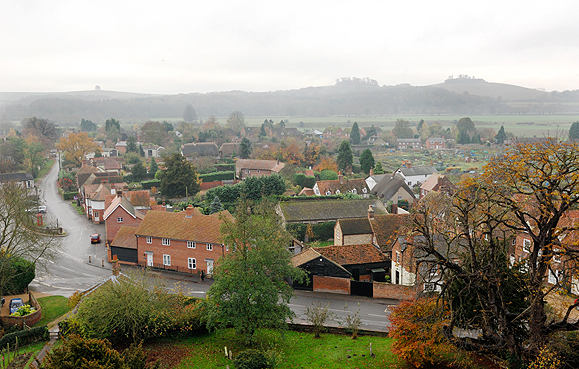 A similar view of Wittenham Clumps taken in 2010 from the Tower at Dorchester Abbey