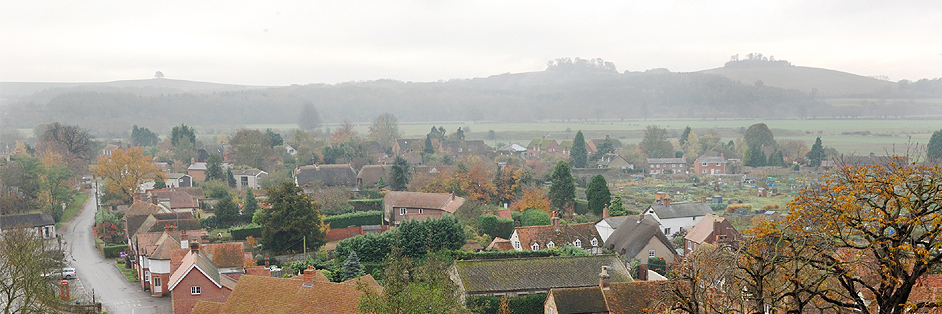 Wittenham Clumps from the tower of Dorchester Abbey