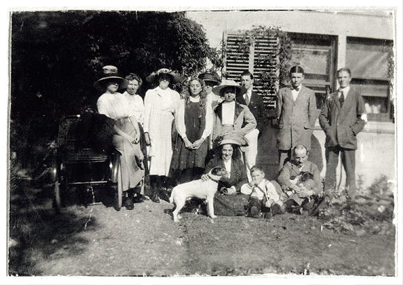 Paul Nash with his family at Sinodun House near Wallingford - Paul Nash is standing in front of the shutter